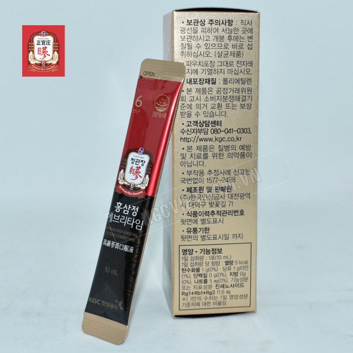 Hình ảnh chi tiết gói Nước hồng sâm Cheong Kwan Jang Everytime 10ml x 30 gói