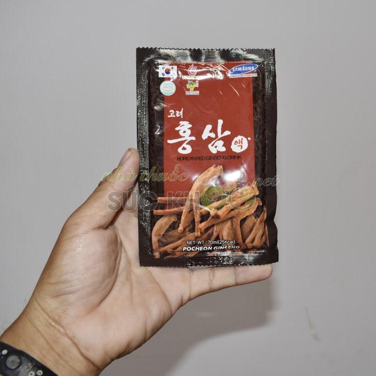 Hình ảnh chi tiết gói nhỏ bên trong Nước hồng sâm Pocheon Hàn Quốc 70ml x 30 gói